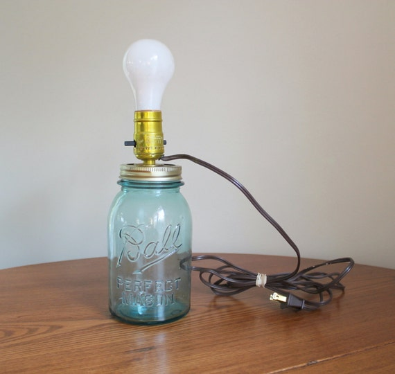 Blue Ball Mason Jar Made into a Table Lamp by SheAteMyCrayons