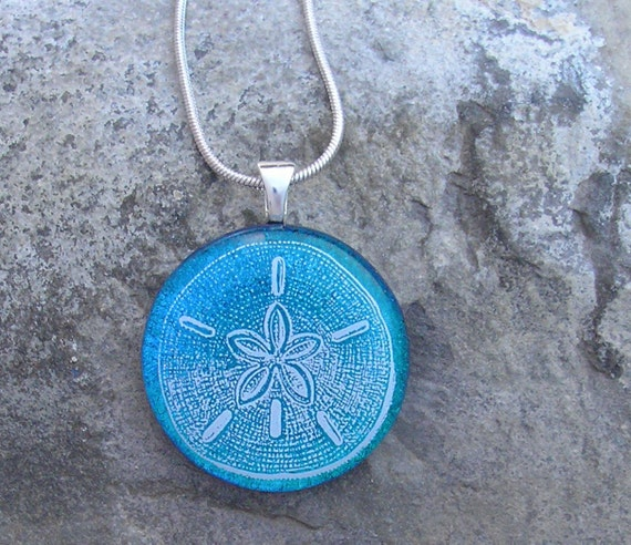 Sand Dollar Necklace Dichroic Glass Sand Star Pendant