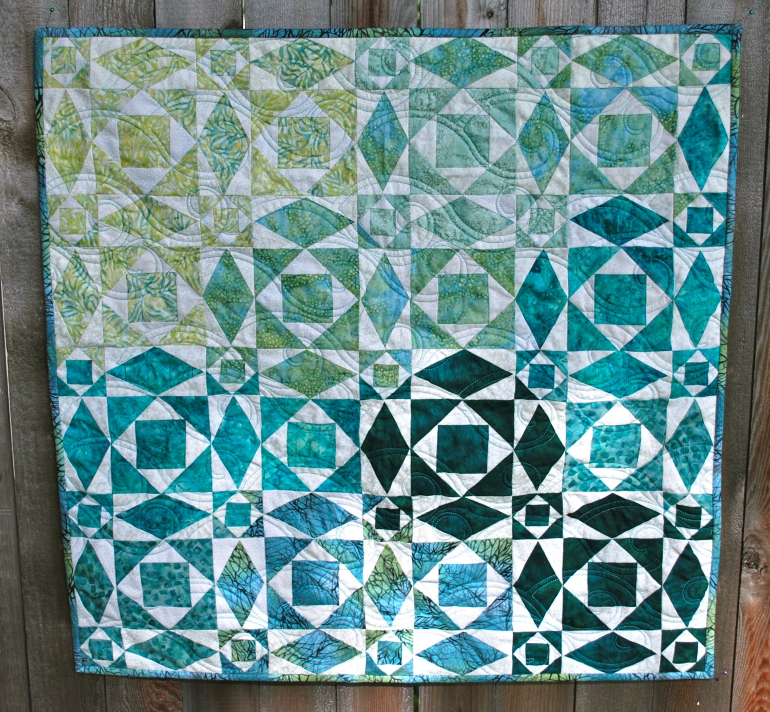 Traditional storm at sea quilt wallhanging in teal aqua for Storm at sea quilt template