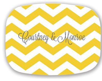 Personalized Platter - Custom Chevron Serving Tray -  Engagement/ Wedding Gift - Monogram Platter - Add Custom Text and Colors