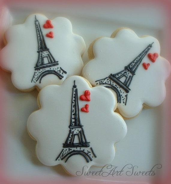 Paris cookies - Eiffel tower cookies - 1 dozen - Valentine's day
