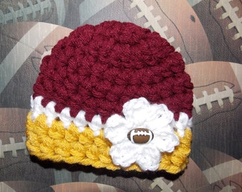 Washington inspired hat - chunky baby girl or boy hat - team sports - team props - sports props  - made to order
