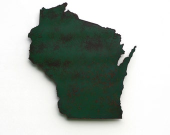 """Wisconsin map metal wall art - 17"""" tall WI wall decor - choose your color - USA art state map art - Wisconsin art madison milwaukee packers"""