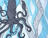 Organic cotton -Squid & Seaweed- Ocean theme-1 Yard- fabric by the yard - Ocean blue White Grey