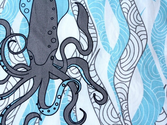 Organic cotton -Squid & Seaweed- Ocean theme-1 Yard- fabric by the yard - Ocean blue White Grey