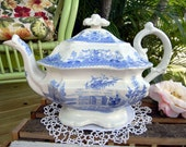 Antique Staffordshire Teapot - c1840s Depicting Stockport School