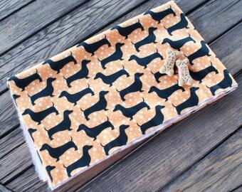 Orange Dachshund Dog Fleece Fabric - Half Yard
