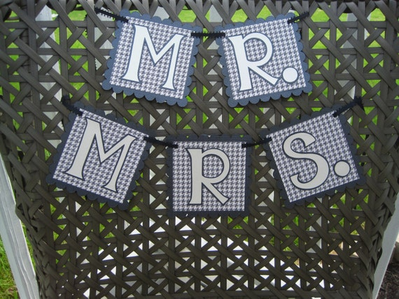 MR and MRS Chair Banners Photo Prop in Houndstooth for WEDDING Reception Bride and Groom Chairs Ready to Ship