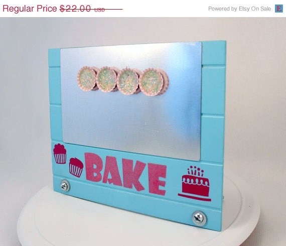 50% OFF CIJ SALE Baker's Kitchen Magnetic Recipe Holder with Bottle Cap Magnets