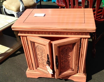 Coral w/Glaze Hand Painted Side Table - One of a Kind