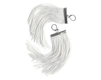 Cream Short Fringe Earrings / White Smoke Chandelier / Almond Shoulder Duster / Seashell Large Statement Earrings / Light Beige Dangle