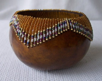 Small Honey gourd bowl, glass beads sewn at rim. 1344.