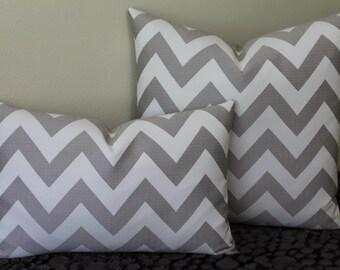 Chevron Print in Quartz - Lumbar or Square Sizes -  Decorative Designer Pillow