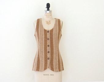Vintage Aztec Tweed Vest // Tribal Vest // Tan Camel Brown Tribal Aztec Top Boho Blouse Shirt - S/M