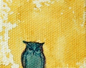"""Original Miniature Watercolor Owl Painting on Canvas, """"itty bitty"""""""