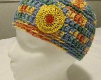 Hand Crocheted Child or Youth Beanie Hat in Multi-Colors, Orange and Yellow