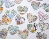 100 Atlas Map Hearts punch die cut confetti scrapbook embellishments - No463
