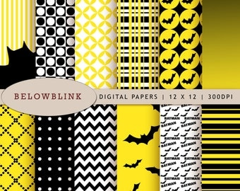 Batman Digital Paper Pack, Scrapbook Papers, 12 jpg files 12 x 12 - Instant Download - DP221