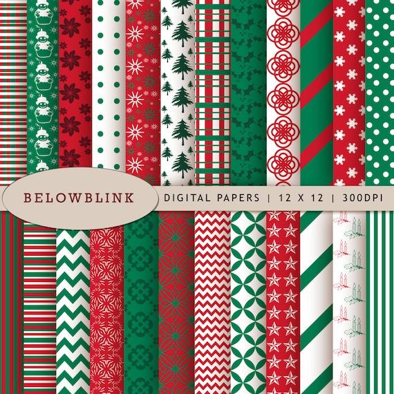 Christmas Digital Paper Pack Scrapbook Papers 24 jpg files