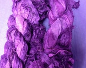 Upcycled Sari Silk Ribbons Royal Purple