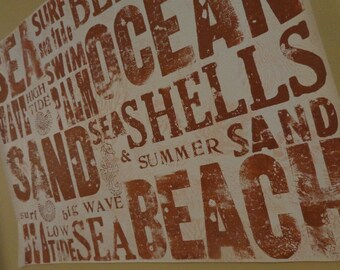 Beach Lingo ORIGINAL 25 x 19 SEA Theme Painted Tyopgraphy Sign Sampler Canvas  Seahorse Antique Letterpress, Hand-Carved Stamps Shells Wave