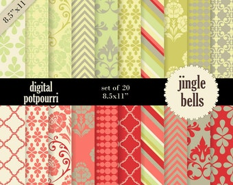 buy2get1 christmas digital paper pack for scrapbooking, card making, printing - jingle bells 8.5x11