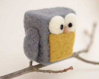 Needle Felted Owl, grey chartreuse yellow wool home whimsical decor play ecofriendly