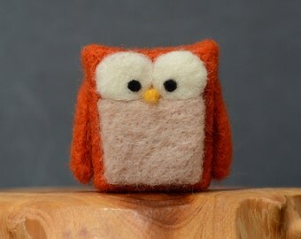 Needle Felted Owl, miniature orange woodland eco friendly home decor