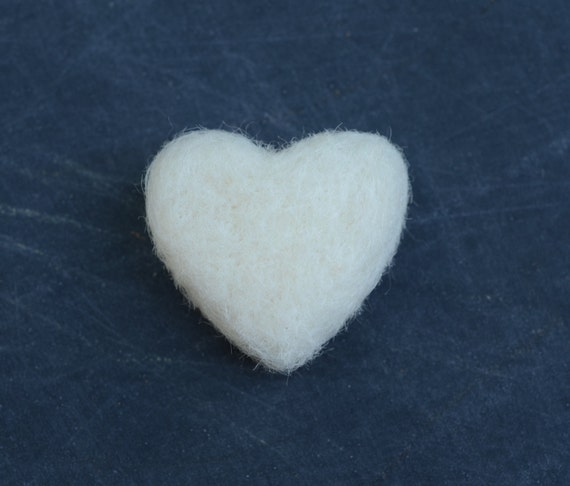 Love Tokens - 6 Large Felted Hearts white valentines sweetheart