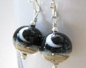 Moon earrings, Crescent moon earrings,  Black white earrings, Lampwork bead jewelry, Silver stars jewelry,  Midnight earrings