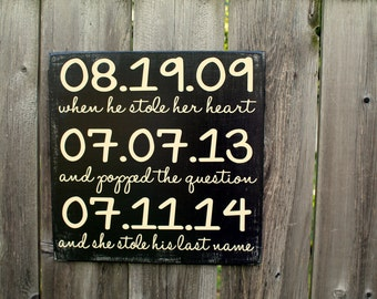 Most Important Dates Sign - Wedding / Anniversary / Engagement