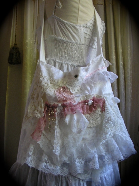 Shabby n Chic Bag, cottage romantic, layers doily lace ruffles, white pink TatteredDelicates handmade shoulder bag