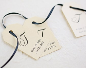 Wedding Favor Tags, Gift Tags, Love, Thank You Tags, Monogram Tags, Elegant Favor Tags, Personalized Favor Tags, Set of 25 (SMGT)
