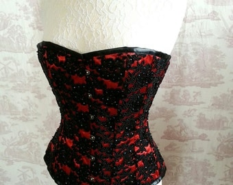 Overbust Corset  24 inch waist BURLESQUE  Steampunk Corset Lace Lolita Gothic