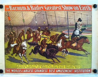 Vintage Unusual Barnum and Bailey  circus poster the greatest show on earth in bright colors