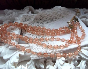 Vintage1940s Crystal glass Necklace Peach & pearl beads mid century West Germany made Gift