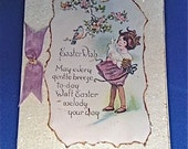 1930's Glittered Easter Card, German Glass Glitter, Purple Ribbon
