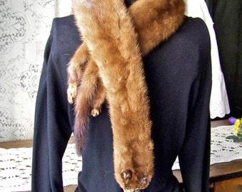 Vintage Mink Pelts Mink Collar Mink Shawl Mink Wrap Fur Collar Moms Mink Collar Vintage 1950s