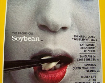 Vintage National Geographic Magazine Soybean 1987 Geisha Girl Cover Girl Nat Geo