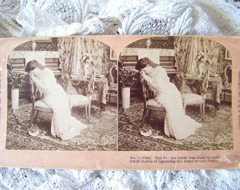 Antique Stereoview Card Broken Heart Stereograph photo 1909 The Letter Stereoscope Card