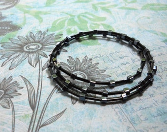 Memory Wire Bangle — Black/Iridescent Charcoal Glass Beads