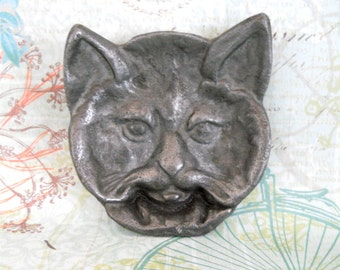 Vintage Cast Iron Cat Face Ashtray / Paperweight