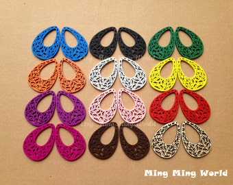 12 Pairs Hollow Out Colorful Wood Pendant For Earrings,Jewelry Supply,Woodchilps Embroider.