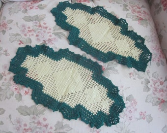 Pair Vintage Shabby Chic Crochet  Doily  Dresser Linen Forest Green & Ice Lime H77