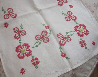 Vintage Cotton Linen Blend Runner Embroidered Cross Stitch Red Flowers H168