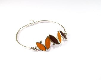 Sterling Silver Bracelet, Small Seeds, Orange, Brown, Modern, Contemporary, Color