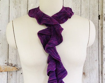 Purple Hues Knit Stripe Ruffle Scarf