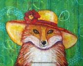 Fiona Fox - Mixed Media Collage Original -  14 X 18 on Birch Wood Boxed Panel - Art - Sunday Best Series