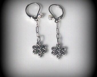 Celtic Eternity Pewter Link dangle Earrings