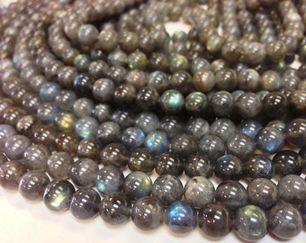 Full Strand A Grade 6 to 6.5 mm Labradorite - Natural Stone - Smooth Round Beads (MJ1601W30)